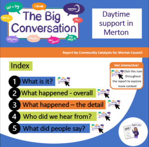 Image of the front cover of the 'Daytime support in Merton' report