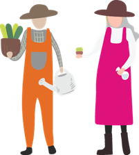 A drawn image showing a community micro-enterprise leader helping with gardening