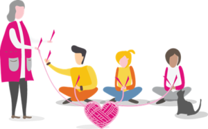 A drawn image showing a community enterprise leading a knitting session in the community