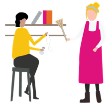 A drawn image showing a community enterprise leader helping someone with cleaning